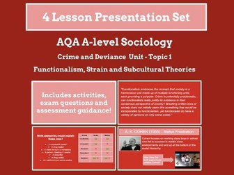 Functionalism, strain and subcultural theory - AQA A-level Sociology - Crime & Deviance  -Topic 1