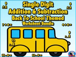 Single Digit Addition & Subtraction Worksheet Bundle - Back to School (60 Pages)