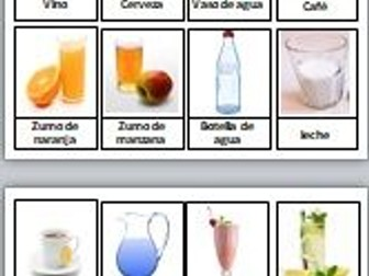Spanish drinks. Table to fill exercise & Pairs memory game. Bebidas