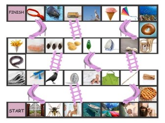 Phonics Long Vowel Sounds Photo Chutes-Ladders Game