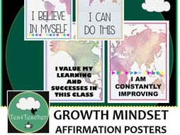 Affirmation Posters Bright Maps x50- Great Range of Motivational Thoughts
