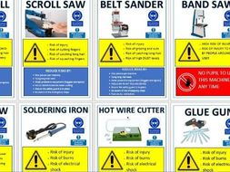 Complete Health and safety signs for the workshop for all tools