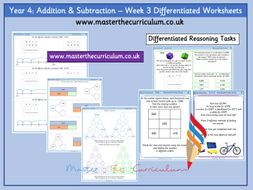 Year 4- Week 3 Addition and Subtraction Differentiated Worksheets- White Rose Style