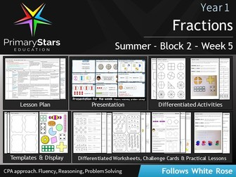 YEAR 1 - Fractions - White Rose - WEEK 5 - Block 2 - Summer- Differentiated Pack