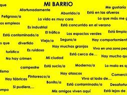 Spanish GCSE Mi Región: home & area extension vocabulary and translation