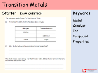 AQA Chapter 1 - Lesson 13 - Transition Metals (Triple Only)