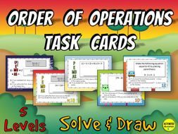 Order of Operations Solve & Draw Task Cards