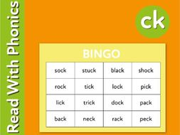 Play Bingo And Snap To Reinforce The Phonic Sound 'ck' (3+)