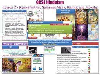 GCSE Hinduism - Lesson 2/20 [Reincarnation, Samsara, Maya, Margas/Yogas, Moksha, Samchita/Agami]
