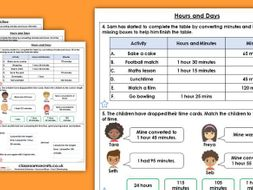 Year 2 Hours and Days Summer Block 3 Maths Homework Extension