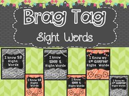 Sight Word by Number Brag Tags