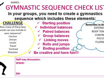 Gymnastic sequence checklist