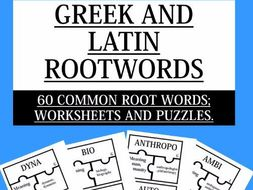 GREEK AND LATIN ROOTWORDS; 60 COMMON ROOT WORDS WORKSHEETS AND ...