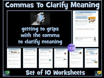 Commas To Clarify Meaning Worksheets