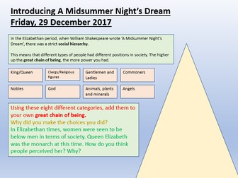 A Midsummer Night's Dream - Great Chain of Being