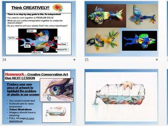 Ocean Conservation - Art and Design KS3 KS4 - Blue Planet Inspired - 3D, Drawing, Artist Research
