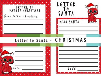 Letter to Santa | Father CHRISTMAS | Holiday Handwriting Writing Activity | Class PP