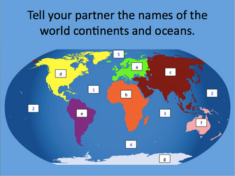Continents and oceans of the world - KS1 & KS2 - presentation and differentiated activity