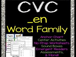 CVC _en Word Family Packet