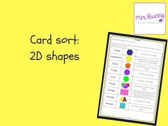 2D shapes card sort
