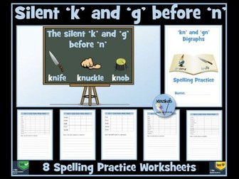 'kn' and 'gn' Digraphs - Spelling Worksheets