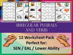 irregular plurals and verbs worksheet pack spelling sen eal by creativesquirrel teaching. Black Bedroom Furniture Sets. Home Design Ideas