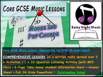 GCSE Music MODES and POP CHORDS