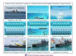 Transportation and Vehicles Spanish PowerPoint Battleship Game