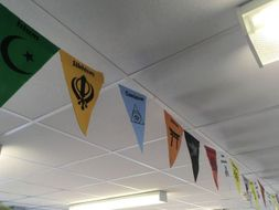 RE classroom display - Religions of the world bunting template