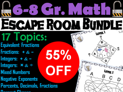 6th to 8th Grade Math Escape Room Bundle