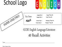 KS4 40 x AQA Language/Literature Recall Activity Booklets