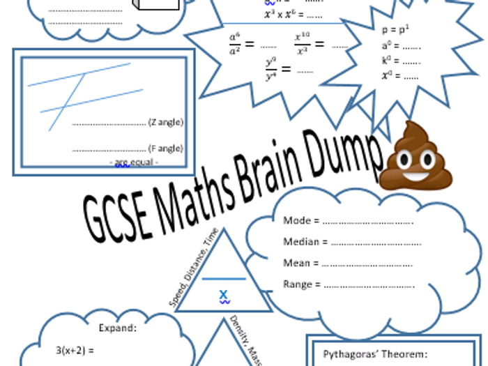 image regarding Brain Dump Worksheet identify GCSE Basis revision head dump sheet