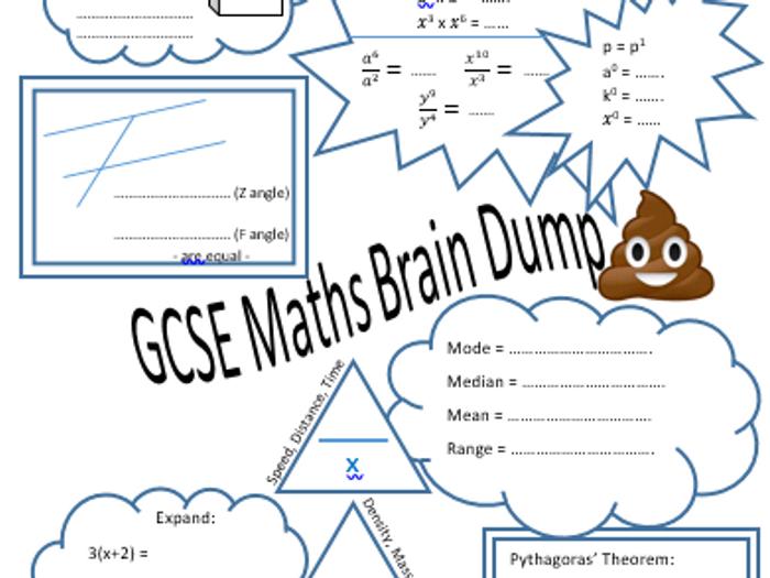 image regarding Brain Dump Worksheet identify GCSE Basis revision head dump sheet