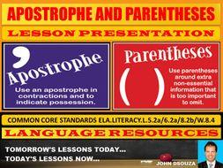 APOSTROPHE & BRACKETS LESSON PRESENTATION