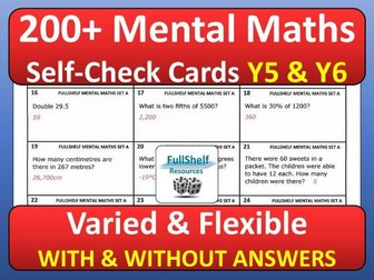 Mental Maths Cards Year 5 / 6