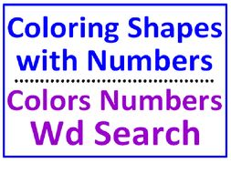 Coloring Shapes with Numbers PLUS Colors and Numbers Word Search Puzzle