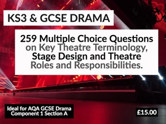 259 Multiple Choice Questions on Drama Key Terminology