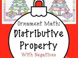Christmas math Surprise - Distributive Property With Negatives Coloring Page