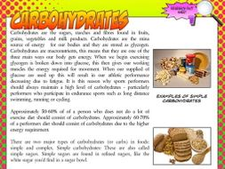 NEW GCSE PE - Carbohydrates research fact sheet