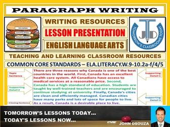 PARAGRAPH WRITING : LESSON PRESENTATION