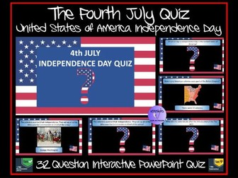 The Fourth July (4th July)- American Independence Day PowerPoint Quiz