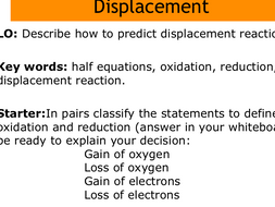 Displacement reactions lesson, including required practical for C5 AQA new specification.