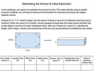 Calculus Exploration: Maximizing the Volume of a Box