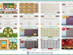 Household Chores and Cleaning Supplies Kooky Class Spanish PowerPoint Game