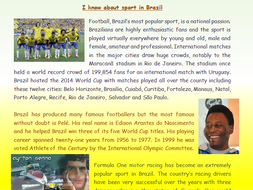 Sport in Brazil Information Text Comprehension Activity