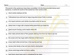 Animals Scrambled Sentences Worksheet