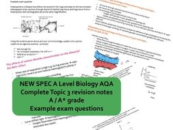 CONCISE A* AS Biology AQA Topic 3 (gas exchange, digestion, mass transport) revision notes