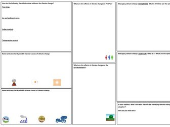 Climate Change Revision Mat (AQA geog GCSE)