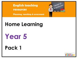 Year 5  English - Home Learning Pack 1