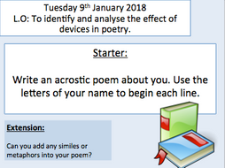 Introduction to poetry - Katy Perry Firework studied as a poem. Language analysis.
